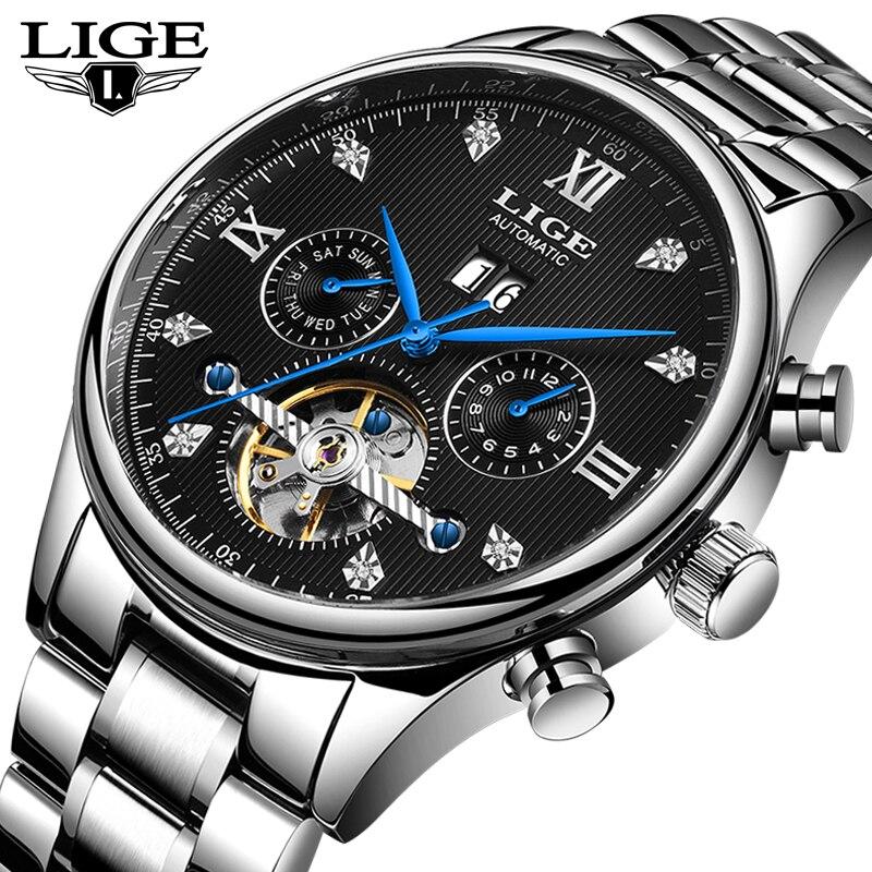 LIGE New Men Watches Male Top Brand Luxury Automatic Mechanical Watch Men Waterproof Full Steel Business Watch Relogio Masculino