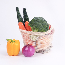 Cotton Mesh Vegetable Bags Produce Bag Reusable Cotton Mesh Vegetable Storage Bag Kitchen Fruit Vegetable with Drawstring