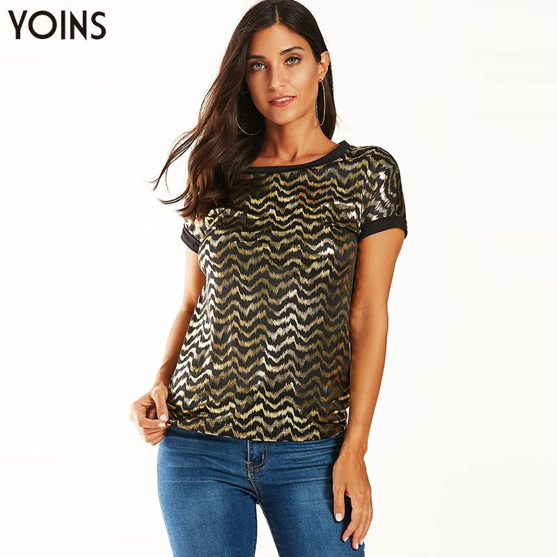 YOINS Stylish Black Gold Waved Print Round Neck Short Sleeve Blouse 2019 Women Summer Casual Tops Party Club Clothes Blusa Femme