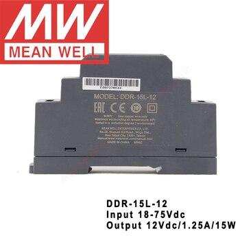 Convertidor a 12V/1,25a/15W CC a CC, entrada de 18-75Vdc, DDR-15L-12 Din Tipo de carril Original, fuente de alimentación DC-DC, Meanwell  1