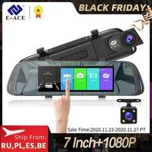 E ACE רכב DVR 7.0 אינץ מגע וידאו מקליט מראה מצלמה FHD 1080P הכפול עדשה עם מצלמה אחורית אוטומטי registrator מצלמת מקף