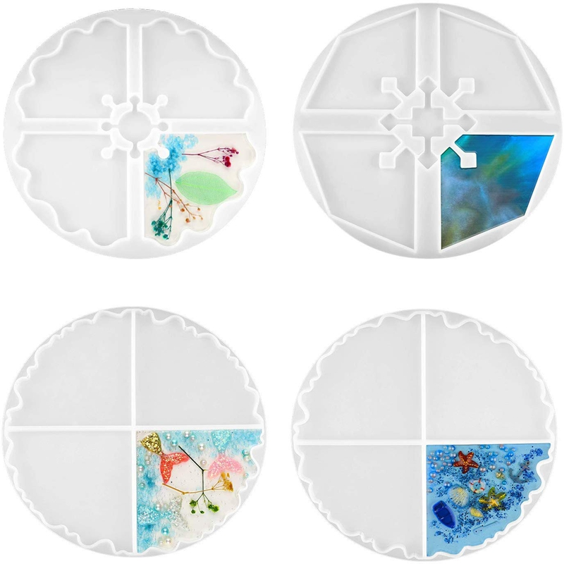 4 Pieces Large Resin Coasters Molds Irregular Coasters Resin Molds Silicone Coasters Molds For Making Cup DIY Favors