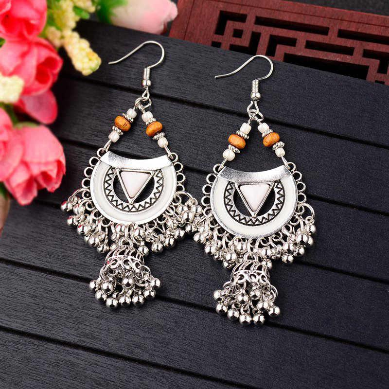 Pendientes colgantes de plata de Egipto tibetano de la India de la Jhumka Bohemia para mujer joyería turca de la India de CARTER LISA
