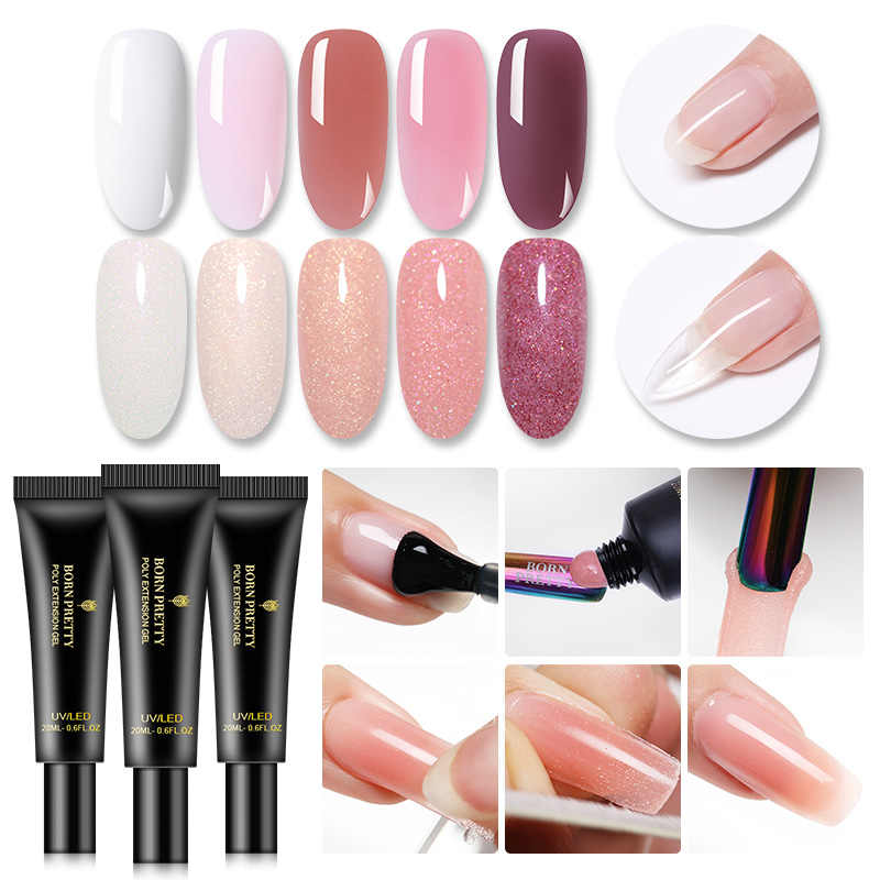 Gel d'extension BORN brett 20ml vernis à ongles thermique scintillant imbiber les Extensions de vernis à ongles à Extension rapide