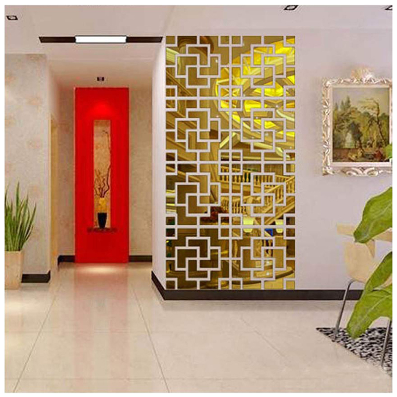 Acrylic 3D Wall Stickers Geometric Mirror Living Room Stickers TV Backdrop DIY Art Wall Decor Home Entrance Mirror Wall Stickers