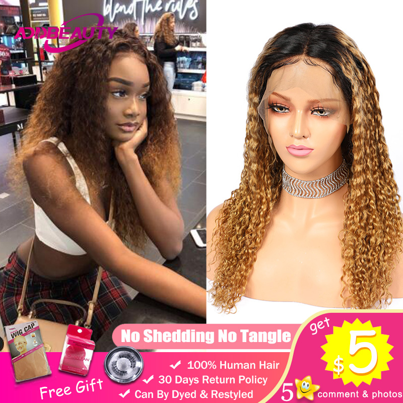 Ombre Blonde Deep Curly Wig 1B/27 Ombre 13x4 13x6 Lace Front Wigs Brazilian Remy Wave Human Baby Hair 370 Fake Scalp Pre-Plucked