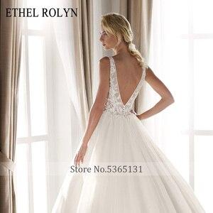 Image 4 - ETHEL ROLYN Sexy dekolt w szpic Vintage suknia ślubna 2020 romantyczny zroszony aplikacje A Line suknie ślubne z tiulu Vestido De Noiva