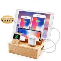 Estación de Carga de madera multifunción, soporte para teléfono móvil, Base de cargador de bambú para Apple Watch iPad iPhone