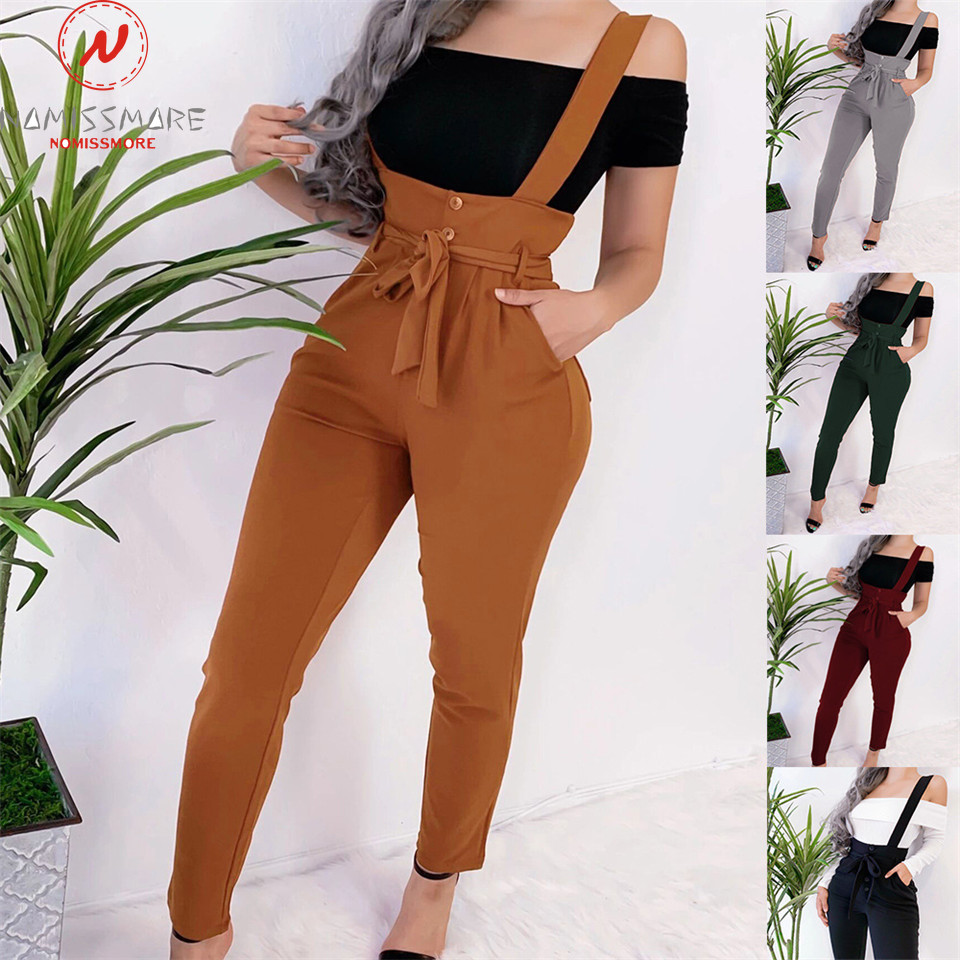 Women Streetwear Long Pants Bandage Design Button Pockets Decor High Waist Pencil Pants Lady Slim Hips Shoulder Straps Trousers