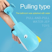 Water Guns Toy Swimming Pool Beach Sand Water Bathing Toy Cartoon Whales Pull-out Spray Guns Children's Bathroom Bathing Beach