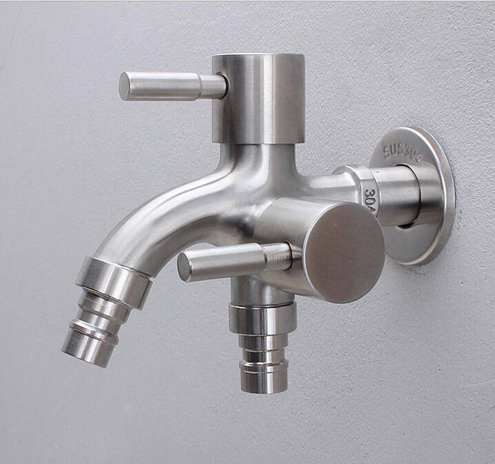 Creative Stainless Steel Wall-in Faucet 1 In 2 Out Multifunctional Water Tap 304 Steel Bathroom & Kitchen Bibcocks