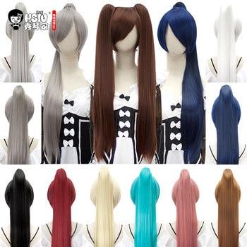 HSIU 80 см длинные конский хвост клип косплей парик высокая температура волокна синтетические парики аниме вечерние конский хвост Парики 14 цв...