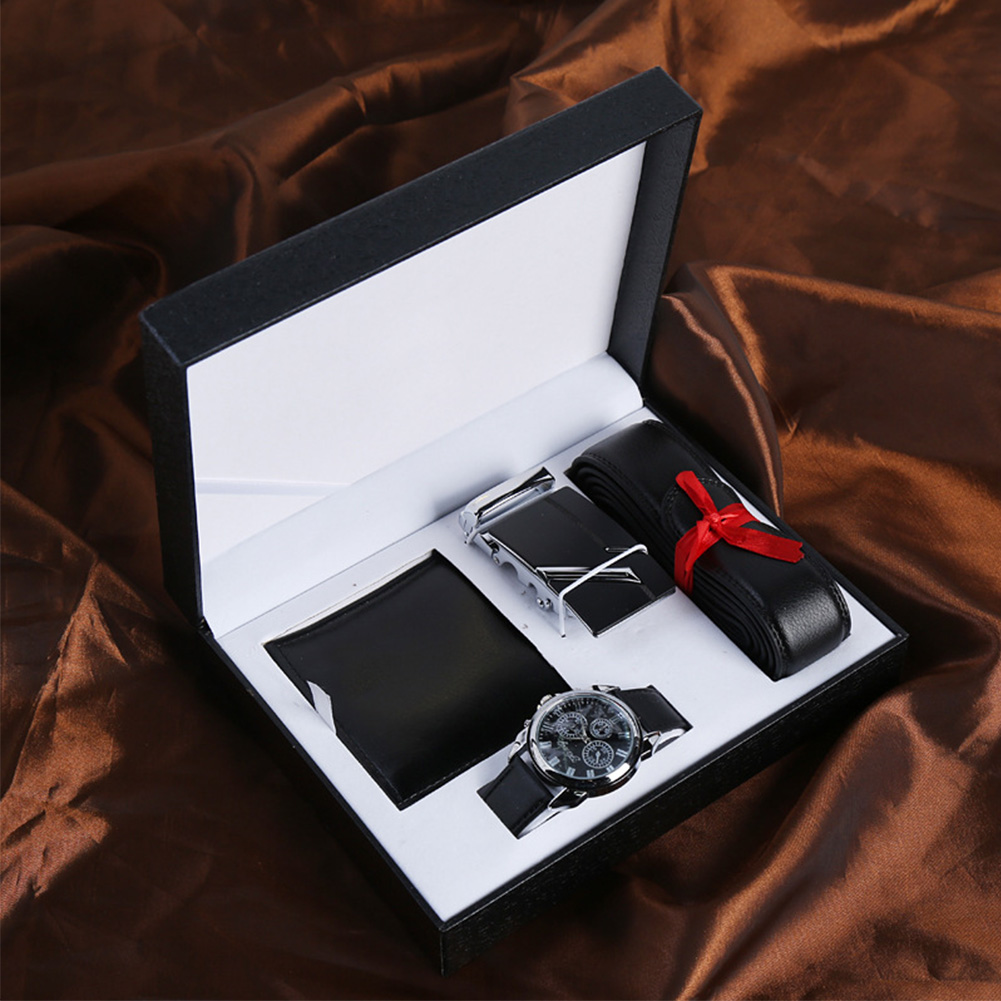 3pcs Black Husband Fashion PU Valentine's Day Birthday Men Accessories Colleague Gift Set Wallet Watch Belt Boyfriend Box Father
