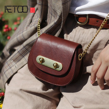 AETOO Leather cute girl bag, small fresh retro chain mini slant bag