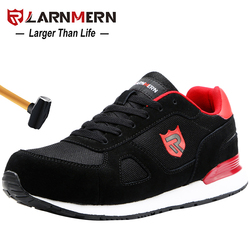 Larnmern sapatos de segurança de trabalho de aço masculino leve respirável anti-smashing antiderrapante reflexivo casual sneaker