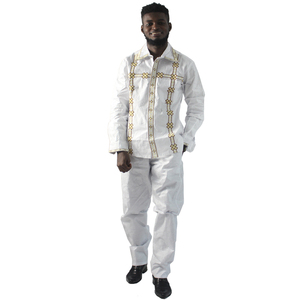 Image 1 - MD White African Shirt Men Clothes Suit Long Sleeve Tops Pants Set Bazin Riche Traditional Formal Attire Embroidery Pattern
