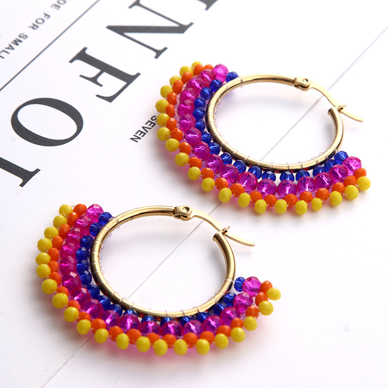 2019 New Rhinestone Beaded Earrings for Women Girls Fashion Colorful Round Handmade Boho Wedding Statement Jewelry Party Gifts