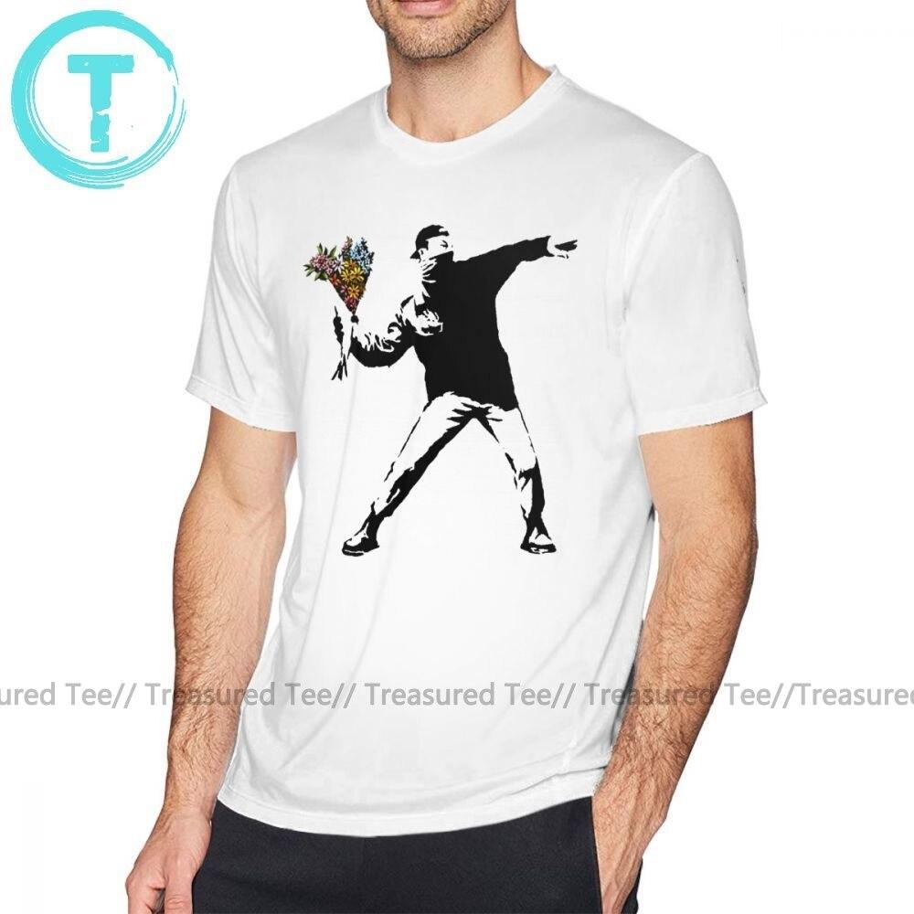 Banksy T Shirt Banksy - Rage Flower Thrower T-Shirt 100 Cotton Short Sleeve Tee Shirt Fashion Graphic Plus Size  Funny Tshirt