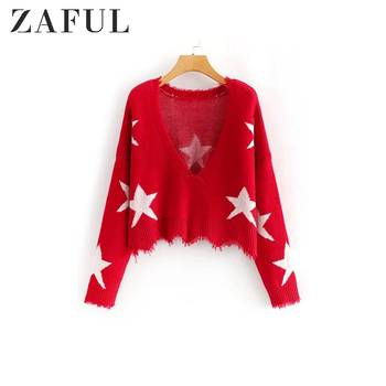 ZAFUL Star Graphic Frayed V Neck Sweater For Women Drop Shoulder Long Sleeve Raw Hem Loose Frayed Sweater Ladies Pullovers фото