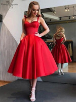 Red Short Prom Dresses with Pockets Straps Open Back Tea Length Cheap Homecoming Dresses Party Dress Vestidos De Festa 2019