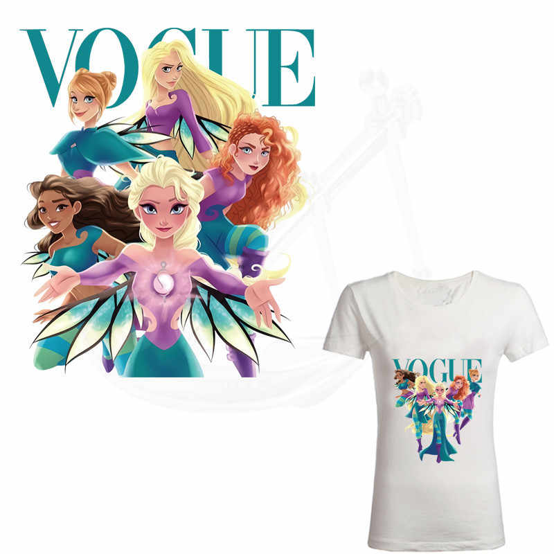 Yeni VOGUE Anna Elsa prenses demir on yamalar T-shirt giyim yamalar termal transfer etiket