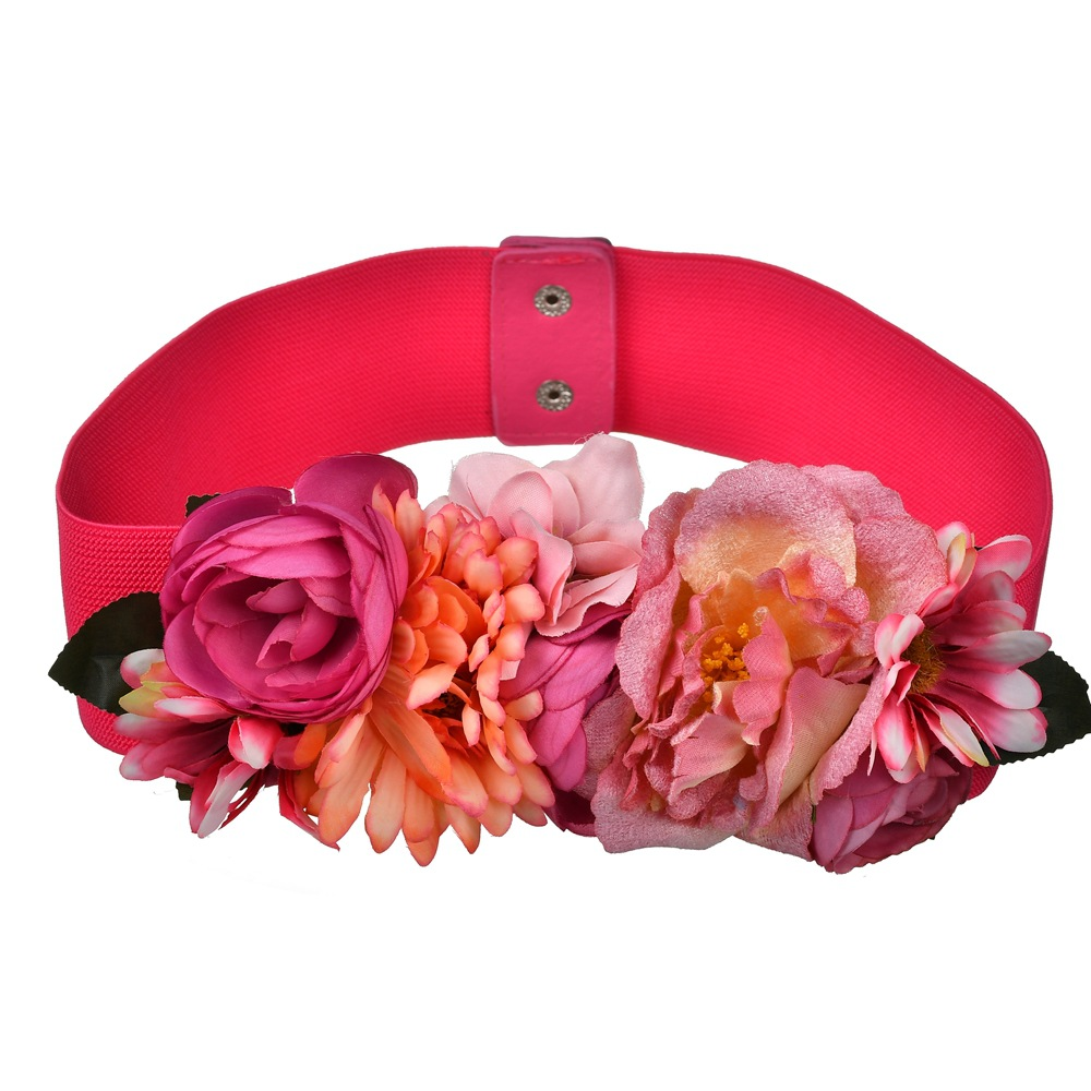 Fashion Women Elastic Wide Corset Belt For Women Glass Crystal Ceinture Ladies Thin Flower Inlaid Belt Waist Girdle BW16