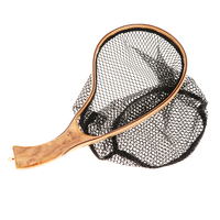 Wooden Handle Fly Fish Fishing Landing Trout Clear Rubber Net Mesh Catch Tackle