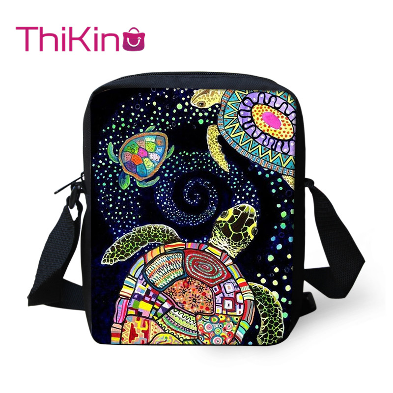 Thikin Sea turtle Pattern Shoulder Messenger Bag for Girls Crossbody Phone Bag for Boys Phone Bag Shopping Bags Mochila Infantil in Crossbody Bags from Luggage Bags