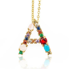 Multicolore mode breloque or 26 Alphabet pendentif collier Micro pavé Zircon initiale A-Z lettre colliers Couple nom collier(China)