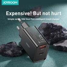 Joyroom cargador rápido de 18W para tableta, Cargador USB 3,0, adaptador de enchufe europeo, tipo C, carga portátil para iPhone, Samsung y Xiaomi