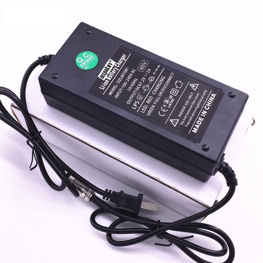 1Pcs DC67 2V 2A Smart Lithium Battery Charger Adapter For Wheelbarrow Self Balancing Scooter 60V Battery XLR 3 pins Connector