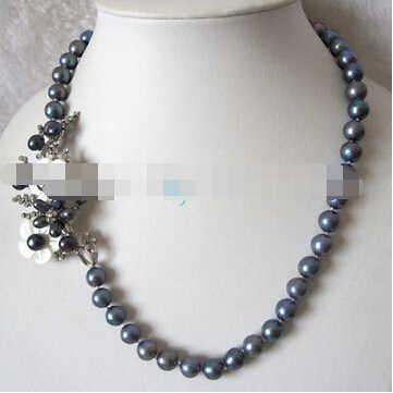 """+ + + 01162 20.5 """"8-9 ミリメートルピーコック淡水真珠のネックレスの花のペンダント"""