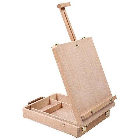 cavalete artista artesanato com caixa de madeira
