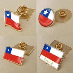 Герб Чили чилийского карта Национальный флаг Эмблема с национальным цветочным брошь значки нагрудные знаки