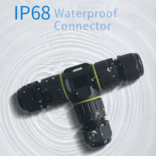 IP68 Waterproof Cable Connector T Type 3 Pin 4 20A 450V Electrical Sealed Retardant AC Junction Box for Outdoor Lighting