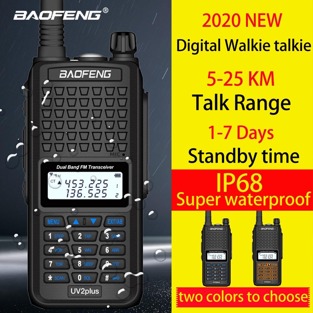 Upgrade Baofeng UV2Plus IP68waterproof Walkie Talkie Long Range 25km Two Way Radio Vhf Uhf Ham Radio Long Range CB Radio Station