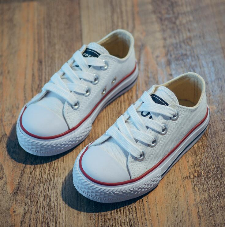 Hot Sale Children Canvas Shoes Boys Girls Sneakers 2019 Spring Autumn Brand Girls Shoes White Short Solid Fashion Children Shoes