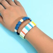 2019 Trendy Enamel Rainbow Tile Bracelet Handmade Customized Bead Stackable for Women Jewelry Hot Sale Products