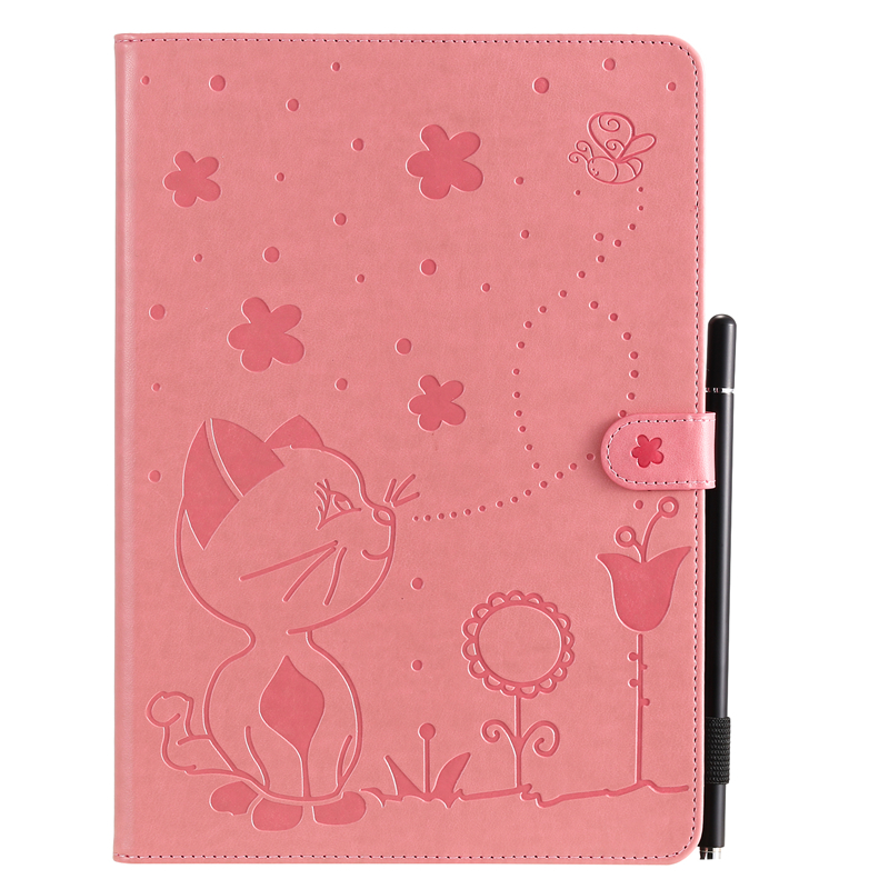 Pink Green For Apple iPad 10 2 inch 2019 Case Cartoon Cat Embossing Leather Cover For iPad 10