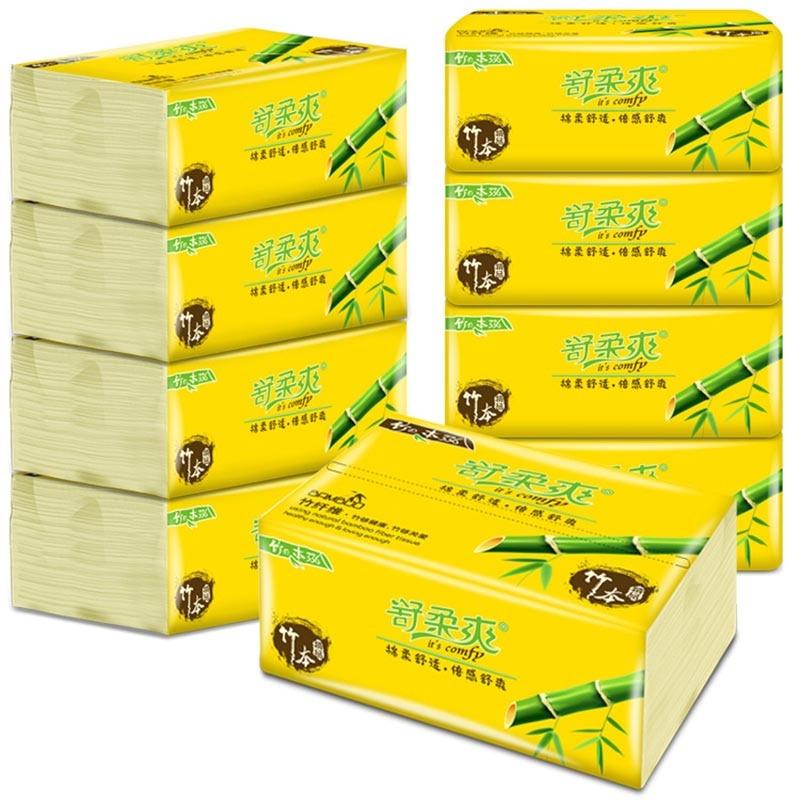 10 Packs/set Bamboo Tissue Paper 300 Napkins Household Bamboo Tissue Paper  E001
