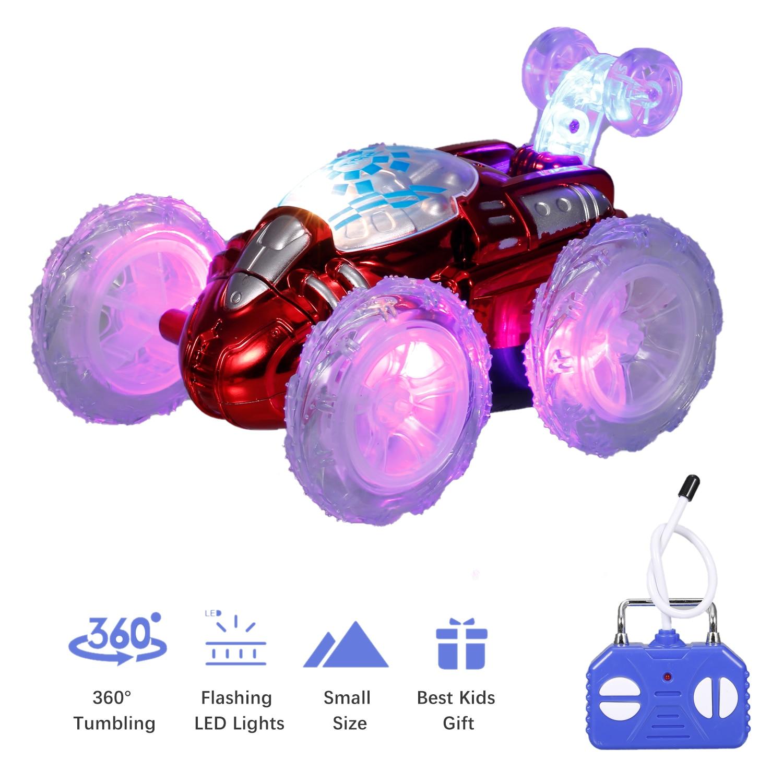 Машинка-трюк с дистанционным управлением, машинка на радиоуправлении, игрушка с мигасветодиодный светодиодными огнями, акробатик на 360 ° дл...