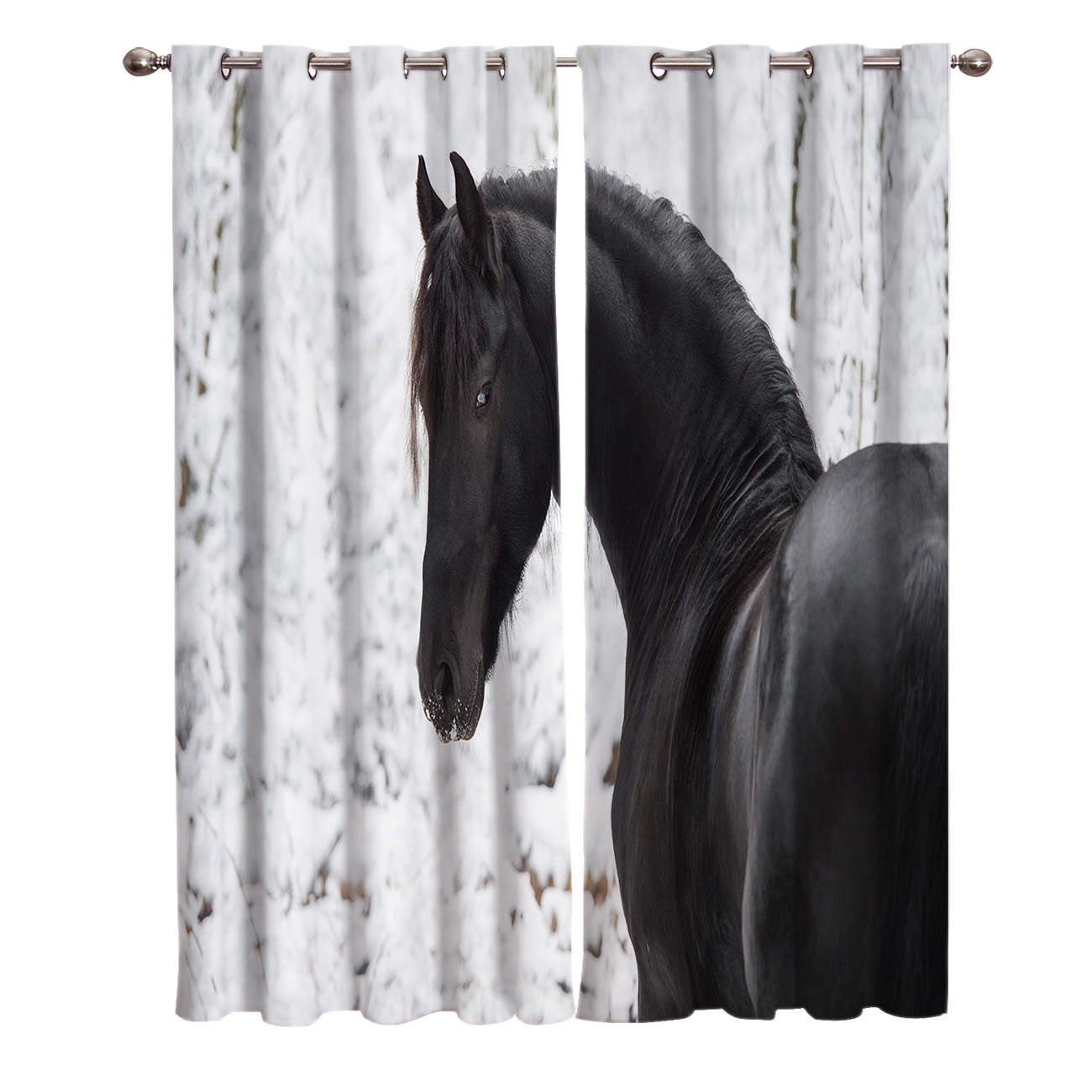 Animal Snow Black Horse Winter Window Curtains Curtains For Living Room Decorative Items Living Room Curtains Aliexpress