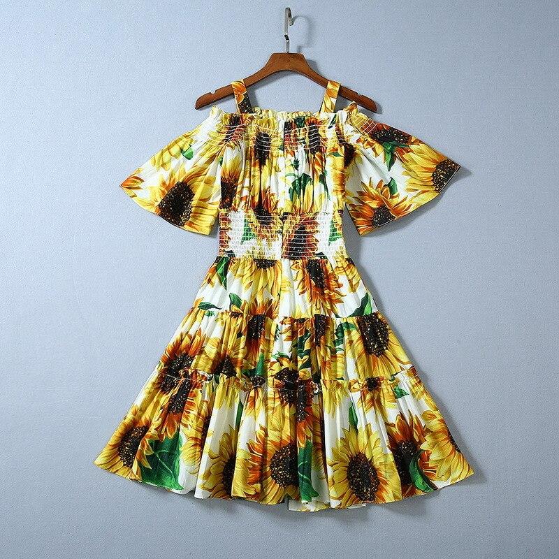 Europe style femmes douce épaule dénudée robe 2019 été pistes tournesol impression taille élastique robe plage style robe A809