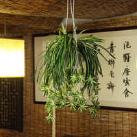 1pc 5 fork 66cm Artificial flowers plants Wall Hanging Chlorophytum Orchid potted green plants Fake Simulation flower Home Decor