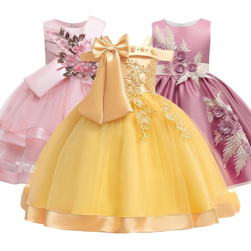 Neue Stil Mädchen Hochzeit Party-charakter Schulter Hosenträger Kleid Mädchen Bogen Nagel Perle Blume Bankett Ball Kleid vestidos