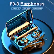 F9 słuchawki LED TWS bezprzewodowe słuchawki 1200mAh słuchawki douszne sterowanie dotykowe zestaw słuchawkowy Bluetooth Sport aktywna redukcja szumów tanie tanio Gearvita Ucho Dynamiczny CN (pochodzenie) wireless 98dB Wspólna Słuchawkowe Dla Telefonu komórkowego Słuchawki HiFi