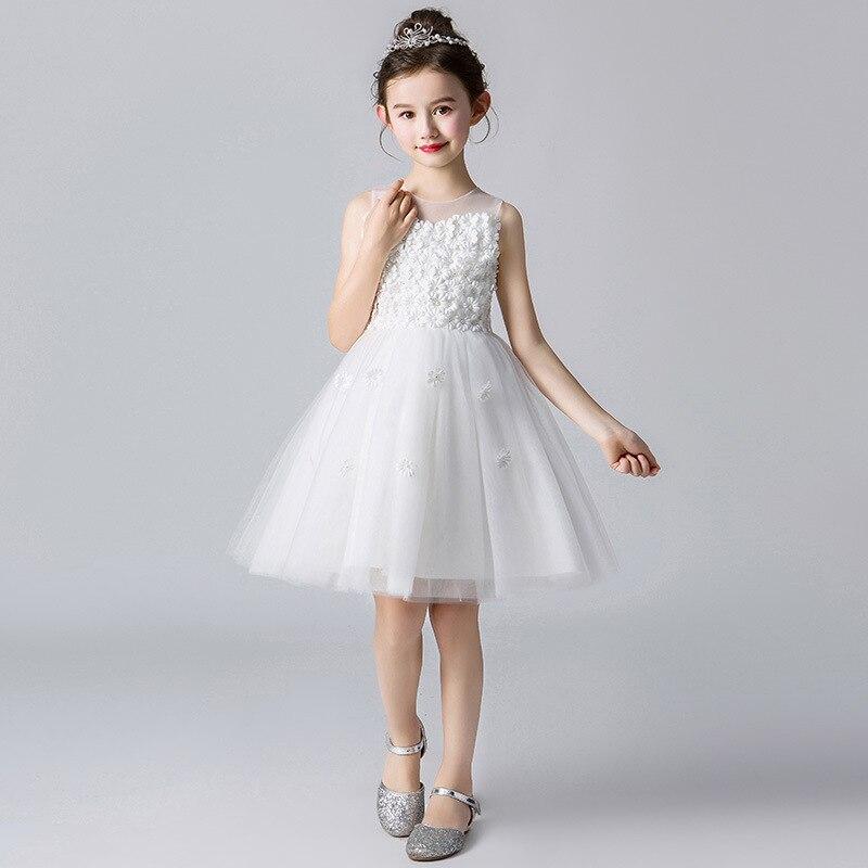CHILDREN'S Dress Princess Dress Girls Puffy Yarn Catwalks Costume Summer New Style Flower Boys/Flower Girls White Wedding Dress