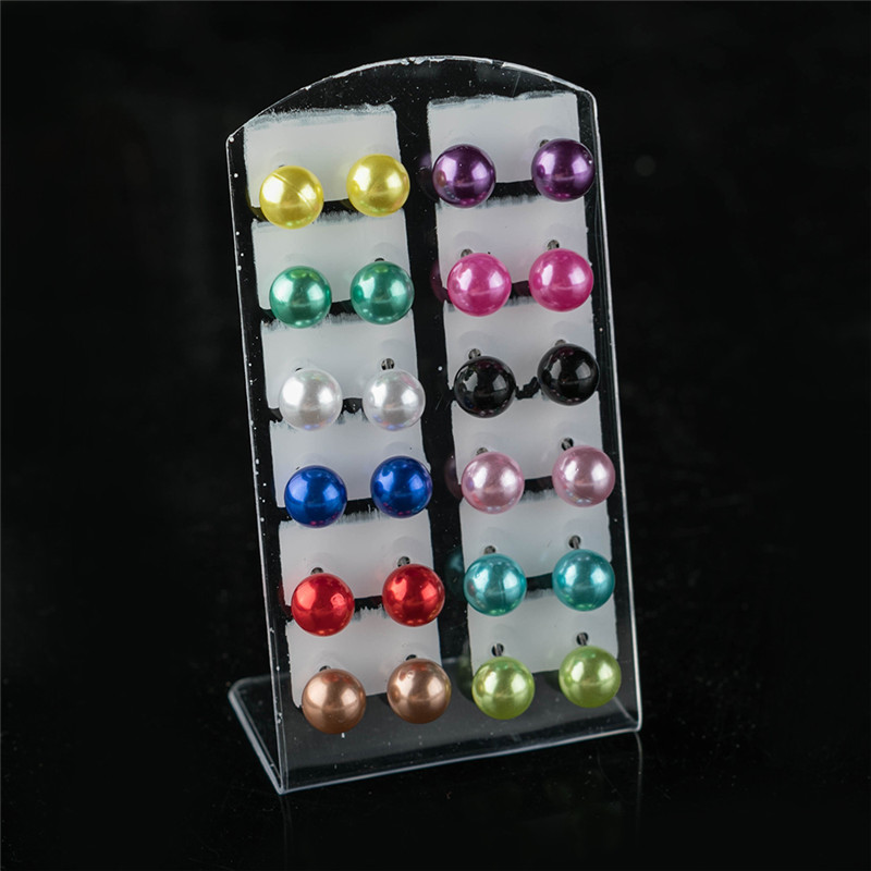 12 pairs/set Colorful Black White Imitation Pearl Stud Earrings For Women Ear Jewelry Round Ball Earring 4 6 8 10mm