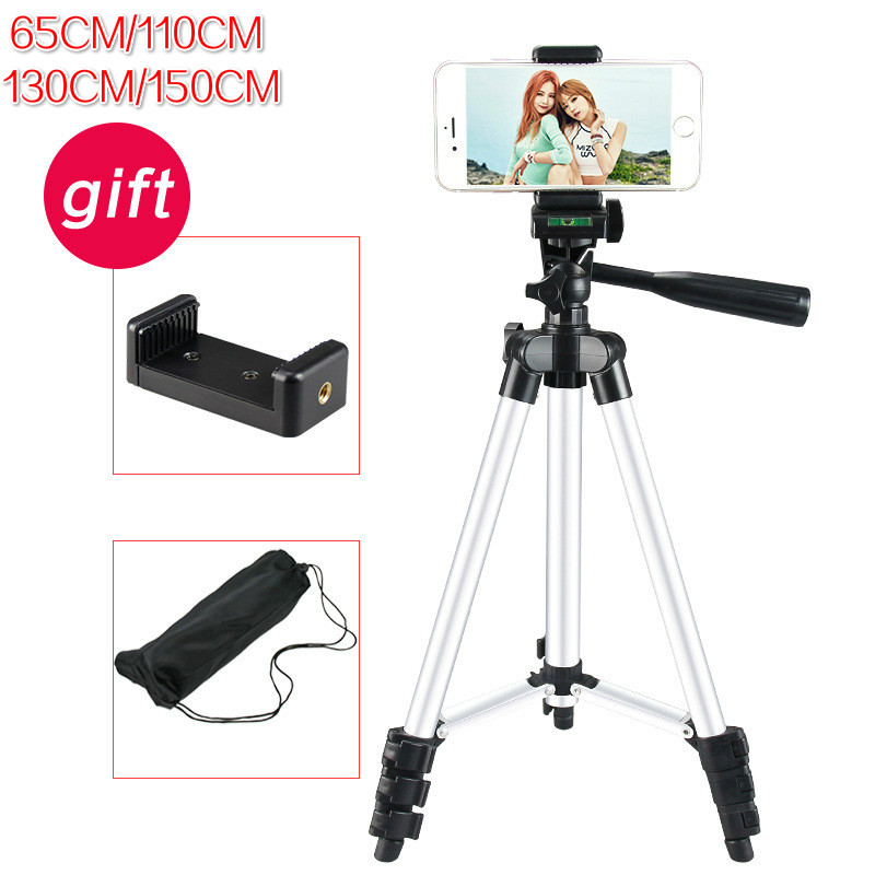 1.5M Long Adjustable Professional Tripod Set Aluminum Alloy Flexible Tripod Camera Stand Mobile Phone Mount Foldable Clip Holder