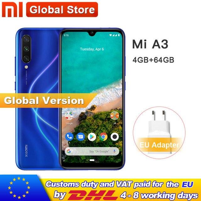 "In Stock Global Version Xiaomi Mi A3 MiA3 4GB 64GB Mobile Phone 48MP+ 32MP Camera Snapdragon 665 Octa Core 6.088"" AMOLED Screen"